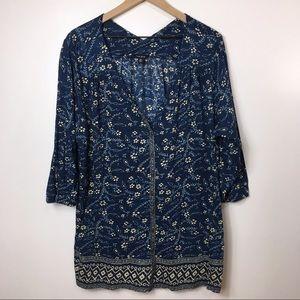 Lucky Brand Blue Bohemian Print Blouse, 3X
